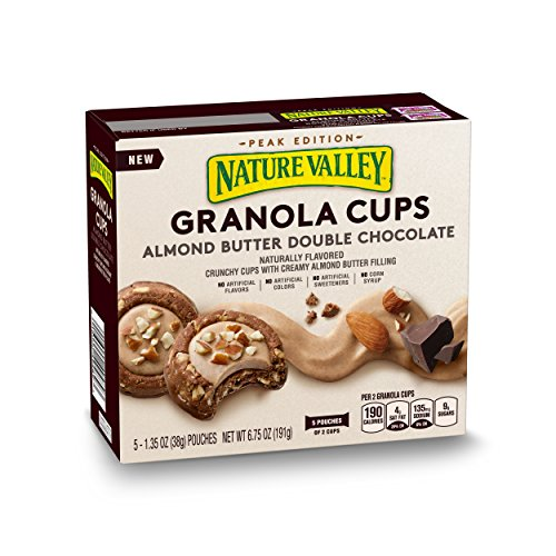 Nature Valley Peak Edition Almond Butter Double Chocolate Granola Cups Pouches, 5 Count, 6.75 oz (Pack of 6)