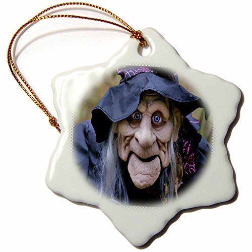 Christmas Ornament Sandy Mertens Halloween Designs - Old Lady Costume with Frame - Snowflake Porcelain Ornament