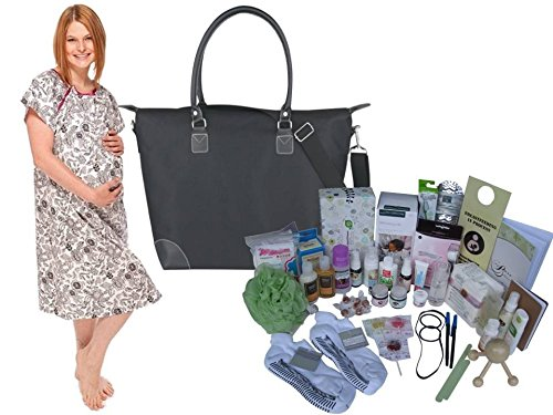 Posh Mama C-section Prepacked Hospital Labor Bag and Hospital Gown by My Pure Delivery