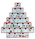 Juvale Advent Calendar - Holiday Treasure Box Christmas Countdown, Christmas Tree Shaped Table Decoration, Winter Festive Designs, 24 Numbered Drawers, Red, Cyan, 12 x 12.6 x 2.3 Inches