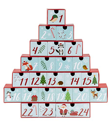 Juvale Advent Calendar - Large Holiday Treasure Box Christmas Countdown, Christmas Tree Shaped Table Decoration, Winter Festive Designs, 24 Numbered Drawers, Red Cyan, 12 x 12.6 x 2.3 Inches