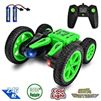 Rainbrace Remote Control Stunt Car, 360 Degree Spinning and Flips RC Cars with Dual-Color Headlights, 4WD Double Sided Off Road Remote Control Car Christmas Birthday Gifts for Boys Age 5 6 7 8 Green