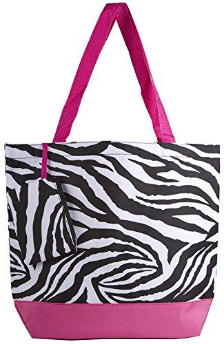 Ever Moda Zebra Print Fashion Tote Bag (Pink)