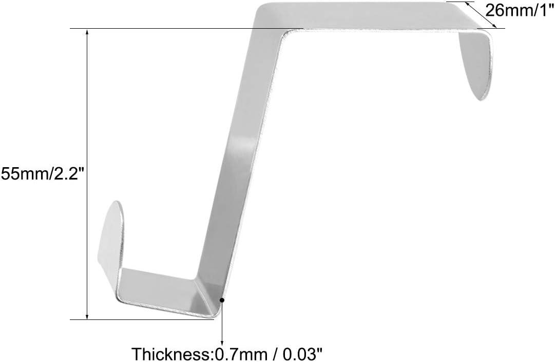 sourcing map Sturdy Over The Door Hooks Reversible Over-Door Cabinet Drawer Hanger 65mm x 26mm Green 4pcs