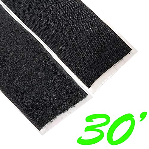 Electriduct 2 Adhesive Backed Hook & Loop Sticky Back Tape Fabric Fastener - 30 Feet