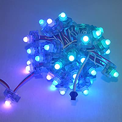 LMID 50PCS LED Pixel Module String DC 12v Ws2811 Full Color Addressable Diffused Digital Square Strand Waterproof Holiday Decoration Sign Lighting