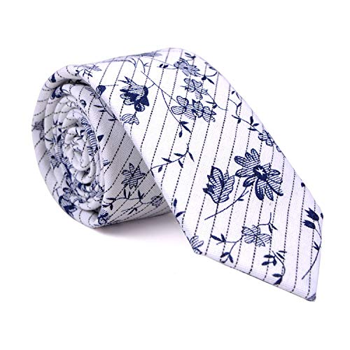 (LUISDAN Men's Cotton Floral Wedding Tie Printed Flower 2.4'' Skinny Narrow Neckties (White Stripe))