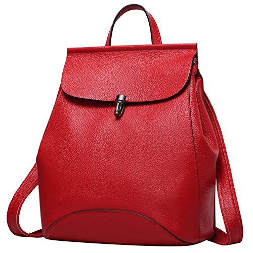 Backpack Bags Women Cowhide Leather Weidu Purse For Leather Red Shopping Travelling xqEXwBw