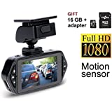 Gazer F117 Full HD Dash Camera Recorder Rotation 2.7 Dash Cam, in Car Recorder, Keys Backlight Motion G Sensor