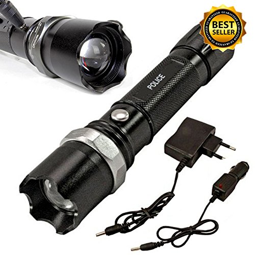 Tactical Police Heavy Duty 3W Rechargeable Flashlight - Sirius Black Keychain