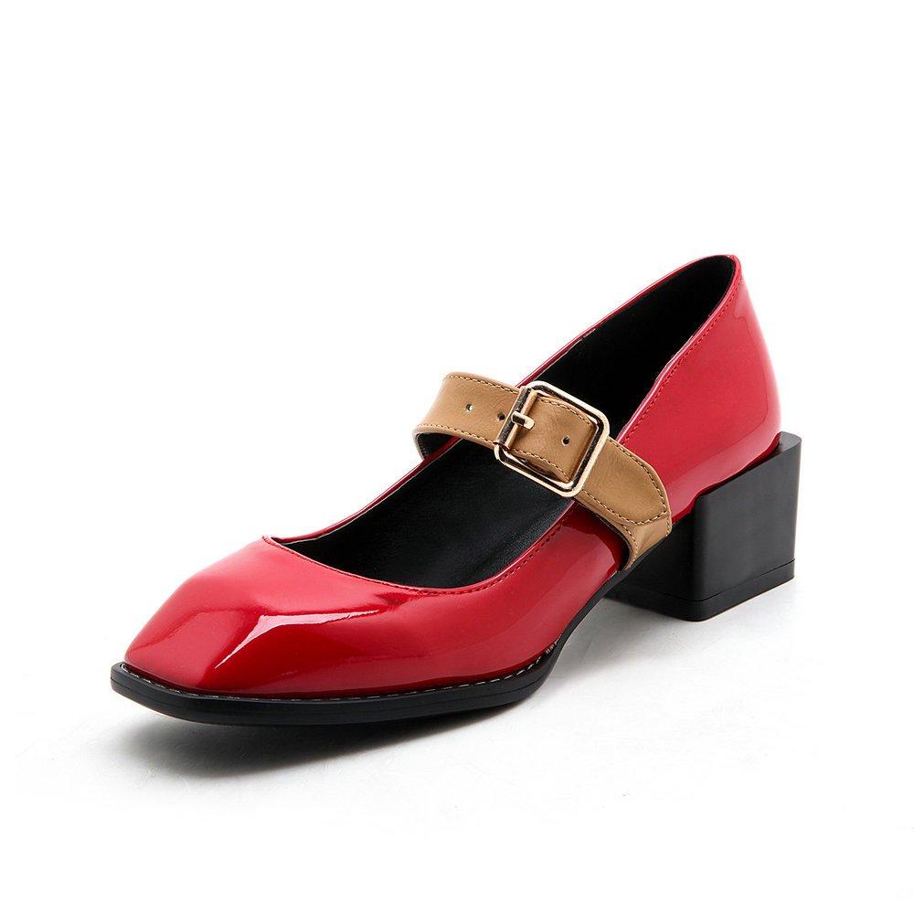 AIWEIYi Womens Low Heel Pump Shoes Buckle Strap Strap Buckle Platform Dress Shoes B01N5MPVZY US 5.0=CN 34=Feet 22.0cm|Red d6a87a