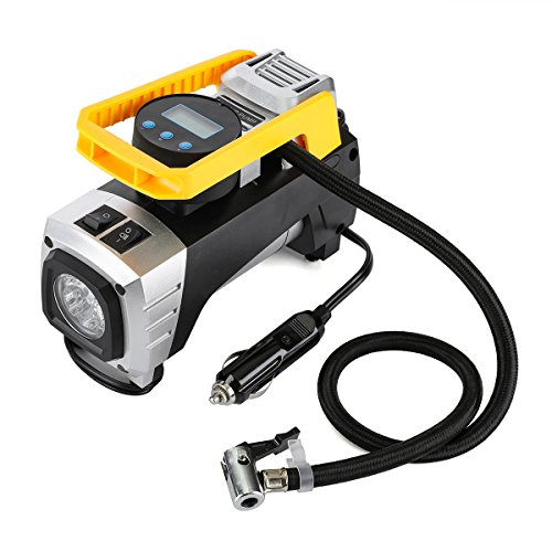 Tire Inflator Air Compressor Portable Air Pump Tvird 12V 150PSI DC Portable Tire Pump with Powerful Emergency Flashlight for Spare Tire,Trailer,Dirt bike,Jeep,RV and Other Smart Spare Tire