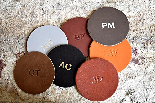 Circle Monogram Set (Custom Leather Circle Coasters - Set of 4. Monogram Coaster Set. Personalized Coasters. Multiple Colors, Gold & Silver Options Available)