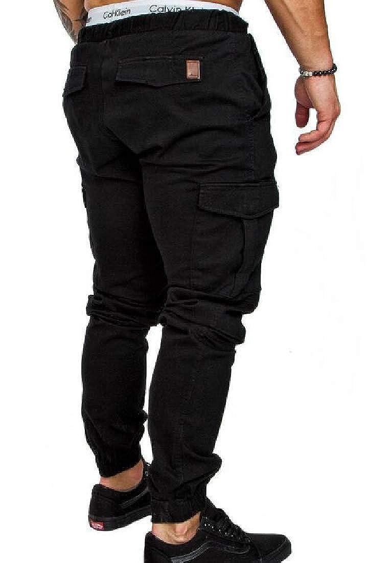 Sweatwater-CA Mens Chino Sport Casual Multi Pocket Elastic Waist Jogger Pants