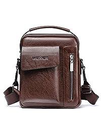 Bolso de Hombro,Popoti Bolso de Cuero Hombres Bolso de Crossbody Escuela Vintage Mochila del Bolso de Mensajero Multifuncional Messenger Bag (Marron Oscuro)