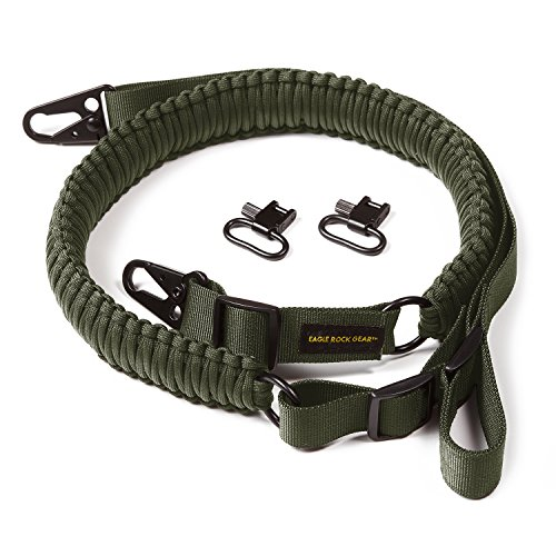 Eagle Rock Gear 550 Paracord 2 Point Gun Sling for Rifles, Shotguns, Crossbows, Airsoft - with Easy Adjustable Strap, HK Clips, Swivels (Army Green)