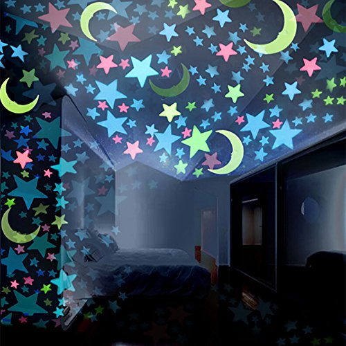 100PC Kids Bedroom Fluorescent Glow in The Dark Stars Moons Wall Stickers,Wall Door Mirror Stickers Wall Decal Vinyl Removable Art Wall Decals for Bedroom Nursery Room Children's Bedroom/3cm Each