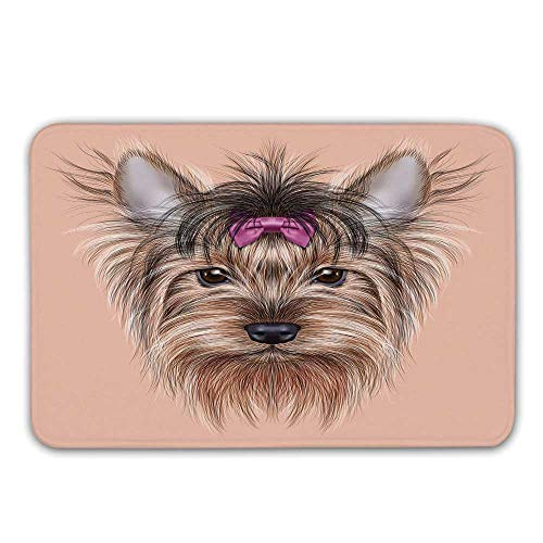 - Yorkie Non Slip Rubber Entrance Rug,Realistic Computer Drawn Image of Yorkshire Terrier with Cute Ribbon Animal Decorative Doormat for Front Door,23.6