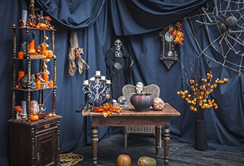Yeele 9x6ft Halloween Photography Background Pumpkin Ghost Spider Vase Table Wooden Chair Skeleton Classical Terror Gloomy Photo Backdrops Pictures Adult Artistic Portrait Photoshoot Props