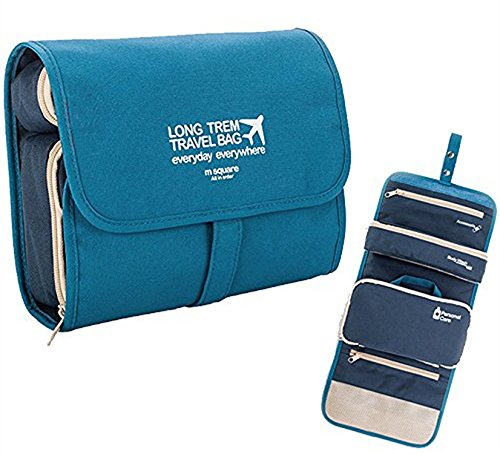 able Toiletry Bag Bathroom Organizers Hanging Travel Kit Toilet Blue (2 Sided Track Jacket)
