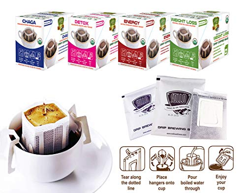 SOLLO Weight Loss Coffee Bags 16 Per Pack 100% Arabica Coffee with Active Herbal Extracts, Slimming, Slim, Diet, Detox, Antioxidant, USDA Organic, Drip Brewing Bags