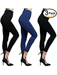 Fleece Lined Leggings Premium Ultra Soft Leggings for Women High Waist Compression, Elastic and Slimming 3-Pack