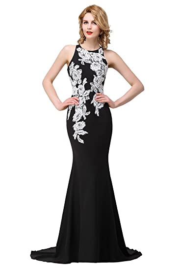 Amazoncom Babyonline Sheer Lace Mermaid Evening Gowns Black White