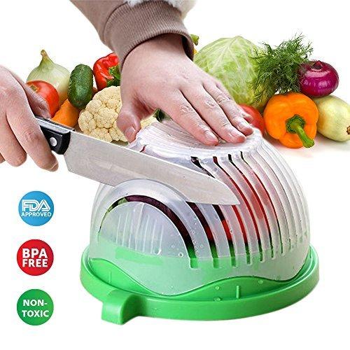 Salad Cutter Bowl Fruit Vegetable Maker – Healthy Safe Food Chopper Slicer Strainer Easy & Fast Ecofriendly Make a Fresh Salad IMPROVED 2017 ()