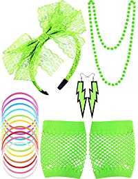 Blulu 80s Lace Headband Earrings Fishnet Gloves Necklace Bracelet for 80s Party (Fluorescent Green)