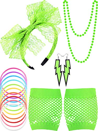 Blulu 80s Lace Headband Earrings Fishnet Gloves Necklace Bracelet for 80s Party (Fluorescent Green)