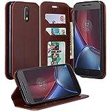 Moto G4 / G4 Plus Case, Moto G4 / G4 Plus Wallets, Flip Folio [Kickstand] Pu Leather Wallet Case with ID&Credit Card Slot For Motorola Moto G 4th Generation / Moto G Plus, (Brown Leather)