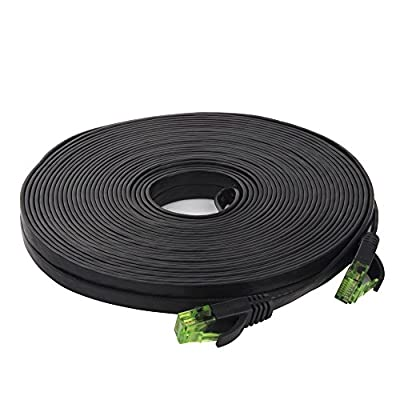 Cat6 Ethernet Cable Flat, iTLTL Network Cable Slim Internet Patch Lan Wire Pure Copper with Green Snagless RJ45 Connectors