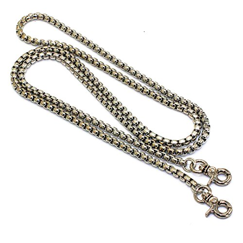 LONG TAO 55 DIY Iron Box Chain Strap Handbag Chains Accessories Purse Straps Shoulder Cross Body Replacement Straps, with 2 Metal Buckles (Silver)