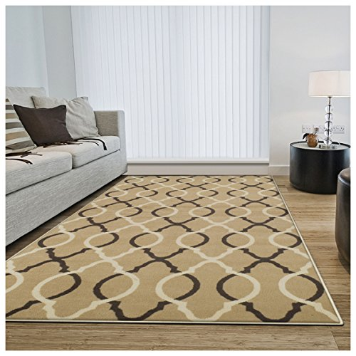 Superior Cadena Collection Area Rug, 8mm Pile Height with Jute Backing, Chic Geometric Trellis Pattern, Fashionable and Affordable Woven Rugs - 4' x 6' Rug, Beige (Affordable Outdoor Rugs)
