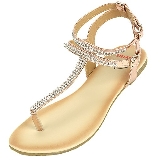 (alpine swiss Womens Rose Gold Slingback T-Strap Rhinestone Thong Sandals 8 M US)