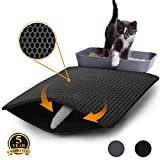 Aurrako Cat Litter Mats Trapper Mat, 60x45cm Honeycomb Double Layer Tapis Litiere Chat, Easy Clean Non Toxic Kitty Litter Mat Suitable for Litter Tray Boxes (Black)