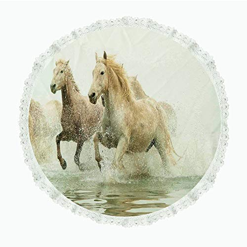 "iPrint 55"" Round Polyester Linen Tablecloth,Animal Decor,Camargue Horses in The Water Ancient Oldest Breed in Southern France Origin Artful Photo,White Beige,for Dinner Kitchen Home Decor"