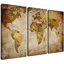 Ardemy Canvas Art Prints Retro Abstract Beige World Map 16x32inches 3 Panels/Set, Wall Paintings Artwork Design Framed Ready to Hang for Living Room Bedroom Kitchen Home and Office Decor