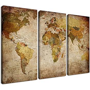 Amazon canvas wall art vintage world map painting ready to hang ardemy canvas art prints retro abstract beige world map 16x32inches 3 panelsset wall paintings artwork design framed ready to hang for living room bedroom gumiabroncs Image collections