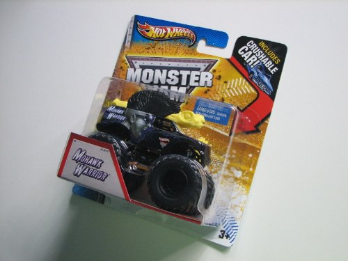 2013 HOT WHEELS 1:64 SCALE MOHAWK WARRIOR MONSTER JAM TRUCK WITH CRUSHABLE CAR