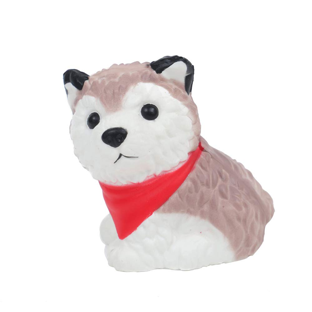 callm Soft Stress Reliever Toys,Squishy Lovely Husky Dog Slow Rising Squeeze Squishies Toys Cure Fun Gifts Decor for Kids Adults (Red)