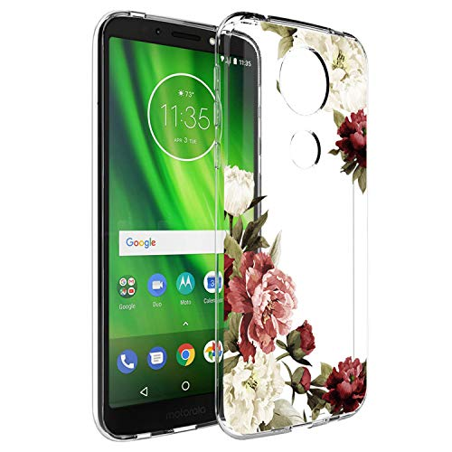 Moto E5 Plus Case, Moto E5 Supra Case with Flowers, Booceicd Shockproof Clear Floral Pattern Soft Flexible TPU Back Slim Case Cover for Motorola E5 Plus (Blossom Flower)
