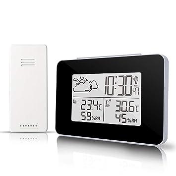 Estación meteorológica inalámbrica con sensor al aire libre, Reloj despertador digital Sensor inalámbrico Monitor de