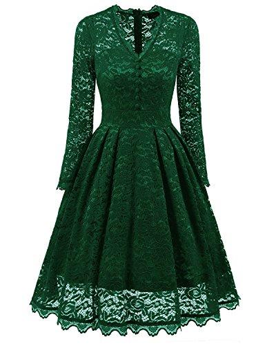 MILEEO Damen Kleider 50S, Vintage Damen Kleid Spitzenkleid Cocktaikleid  Festlich Partykleid Abendkleid Knielang Hochzeit Ballkleid 7179d5d687