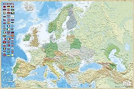 Grupo Erik Editores Poster Mapa Europa Es Fisico Politico: Amazon ...
