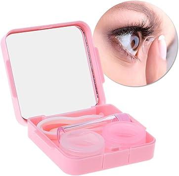 follwer0-1 estuche para lentillas de contacto, portátil, caja de viaje, kit de cuidado de ojos con espejo: Amazon.es: Salud y cuidado personal