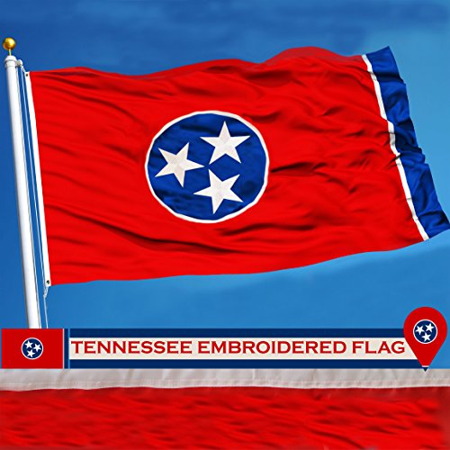 Flag State Tennessee (G128 - Tennessee State Flag 3x5ft Embroidered Stars Sewn Stripes with Brass Grommets 210D Quality Oxford Nylon - Tennessee Flag State of Tennessee Flag)