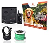 Wireless Combo Electric Dog Fence System with Remote Dog Training Collar by PetControlHQ, Safe Electric Pet Containment with 1 Waterproof, Rechargeable Dog Shock Collar & Invisible Wire Fence