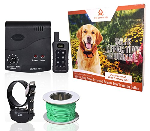 Wireless Combo Electric Dog Fence System with Remote Dog Training Collar by PetControlHQ, Safe...
