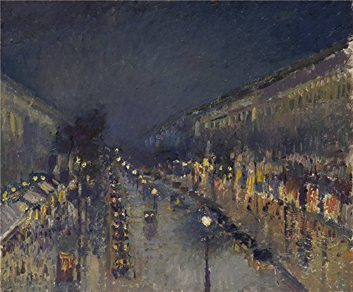Polyster Canvas ,the Cheap But High Quality Art Decorative Art Decorative Prints On Canvas Of Oil Painting 'Camille Pissarro The Boulevard Montmartre At Night ', 8 X 10 Inch / 20 X 25 Cm Is Best For Nursery Decor And Home Gallery Art And Gifts ()